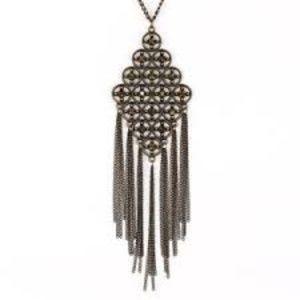 Aurum Diamond Shaped Rhinestone Brass Necklace Set